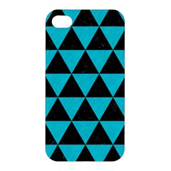 Triangle3 Black Marble & Turquoise Colored Pencil Apple Iphone 4/4s Hardshell Case by trendistuff