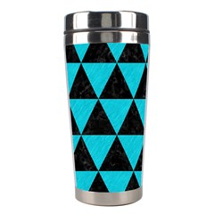 Triangle3 Black Marble & Turquoise Colored Pencil Stainless Steel Travel Tumblers by trendistuff