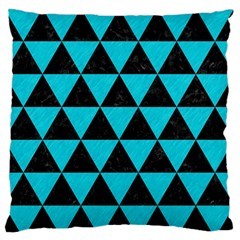 Triangle3 Black Marble & Turquoise Colored Pencil Large Flano Cushion Case (two Sides) by trendistuff
