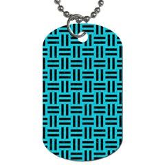 Woven1 Black Marble & Turquoise Colored Pencil Dog Tag (one Side) by trendistuff