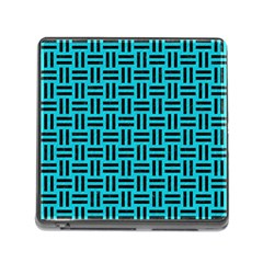 Woven1 Black Marble & Turquoise Colored Pencil Memory Card Reader (square) by trendistuff
