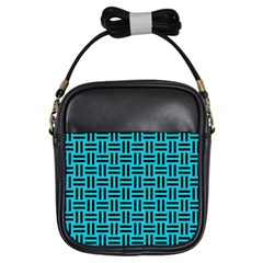 Woven1 Black Marble & Turquoise Colored Pencil Girls Sling Bags by trendistuff