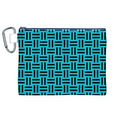Woven1 Black Marble & Turquoise Colored Pencil Canvas Cosmetic Bag (xl) by trendistuff