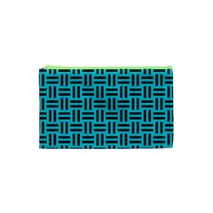 Woven1 Black Marble & Turquoise Colored Pencil Cosmetic Bag (xs) by trendistuff