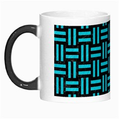 Woven1 Black Marble & Turquoise Colored Pencil (r) Morph Mugs by trendistuff