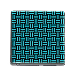Woven1 Black Marble & Turquoise Colored Pencil (r) Memory Card Reader (square) by trendistuff