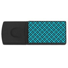 Woven2 Black Marble & Turquoise Colored Pencil Rectangular Usb Flash Drive by trendistuff