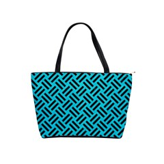 Woven2 Black Marble & Turquoise Colored Pencil Shoulder Handbags by trendistuff