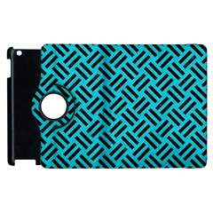 Woven2 Black Marble & Turquoise Colored Pencil Apple Ipad 2 Flip 360 Case by trendistuff