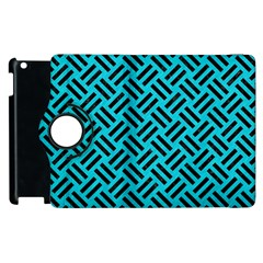 Woven2 Black Marble & Turquoise Colored Pencil Apple Ipad 3/4 Flip 360 Case by trendistuff