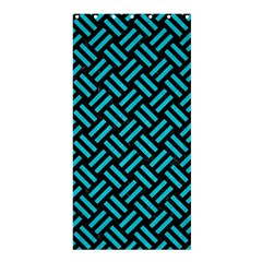 Woven2 Black Marble & Turquoise Colored Pencil (r) Shower Curtain 36  X 72  (stall)  by trendistuff