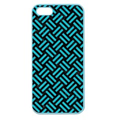 Woven2 Black Marble & Turquoise Colored Pencil (r) Apple Seamless Iphone 5 Case (color) by trendistuff