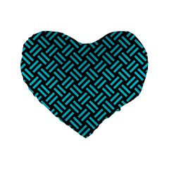 Woven2 Black Marble & Turquoise Colored Pencil (r) Standard 16  Premium Flano Heart Shape Cushions by trendistuff