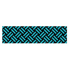 Woven2 Black Marble & Turquoise Colored Pencil (r) Satin Scarf (oblong) by trendistuff