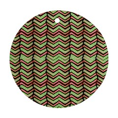 Zig Zag Multicolored Ethnic Pattern Ornament (round) by dflcprintsclothing