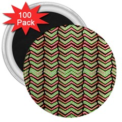 Zig Zag Multicolored Ethnic Pattern 3  Magnets (100 Pack) by dflcprintsclothing