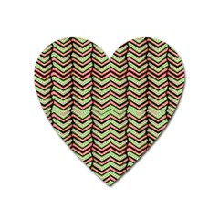 Zig Zag Multicolored Ethnic Pattern Heart Magnet by dflcprintsclothing