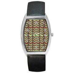 Zig Zag Multicolored Ethnic Pattern Barrel Style Metal Watch by dflcprintsclothing