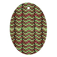 Zig Zag Multicolored Ethnic Pattern Oval Ornament (two Sides) by dflcprintsclothing