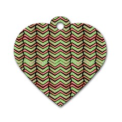 Zig Zag Multicolored Ethnic Pattern Dog Tag Heart (two Sides) by dflcprintsclothing