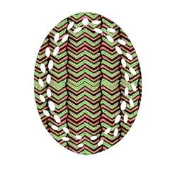 Zig Zag Multicolored Ethnic Pattern Oval Filigree Ornament (two Sides) by dflcprintsclothing