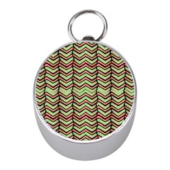 Zig Zag Multicolored Ethnic Pattern Mini Silver Compasses by dflcprintsclothing