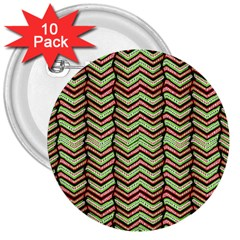 Zig Zag Multicolored Ethnic Pattern 3  Buttons (10 Pack)  by dflcprintsclothing