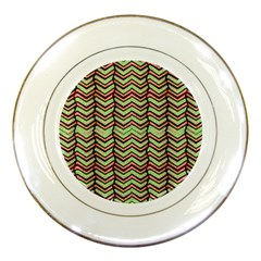 Zig Zag Multicolored Ethnic Pattern Porcelain Plates by dflcprintsclothing