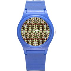 Zig Zag Multicolored Ethnic Pattern Round Plastic Sport Watch (s) by dflcprintsclothing