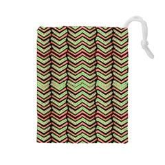 Zig Zag Multicolored Ethnic Pattern Drawstring Pouches (large)  by dflcprintsclothing