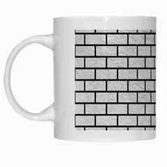 Brick1 Black Marble & White Leather White Mugs by trendistuff