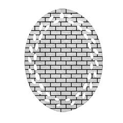 Brick1 Black Marble & White Leather Ornament (oval Filigree) by trendistuff