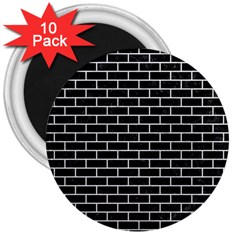 Brick1 Black Marble & White Leather (r) 3  Magnets (10 Pack)  by trendistuff