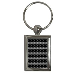 Brick1 Black Marble & White Leather (r) Key Chains (rectangle)  by trendistuff
