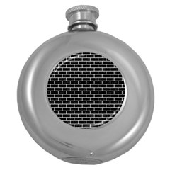 Brick1 Black Marble & White Leather (r) Round Hip Flask (5 Oz) by trendistuff
