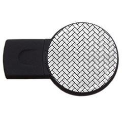 Brick2 Black Marble & White Leather Usb Flash Drive Round (2 Gb) by trendistuff