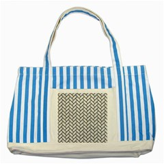 Brick2 Black Marble & White Leather Striped Blue Tote Bag by trendistuff