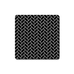 Brick2 Black Marble & White Leather (r) Square Magnet