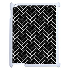 Brick2 Black Marble & White Leather (r) Apple Ipad 2 Case (white) by trendistuff