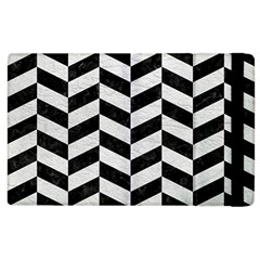 Chevron1 Black Marble & White Leather Apple Ipad 3/4 Flip Case by trendistuff