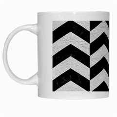 Chevron2 Black Marble & White Leather White Mugs by trendistuff