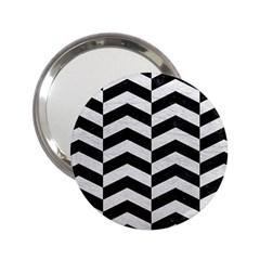 Chevron2 Black Marble & White Leather 2 25  Handbag Mirrors