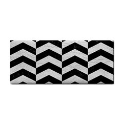 Chevron2 Black Marble & White Leather Cosmetic Storage Cases by trendistuff