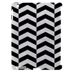 Chevron2 Black Marble & White Leather Apple Ipad 3/4 Hardshell Case (compatible With Smart Cover) by trendistuff