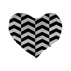 Chevron2 Black Marble & White Leather Standard 16  Premium Heart Shape Cushions by trendistuff