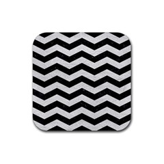 Chevron3 Black Marble & White Leather Rubber Square Coaster (4 Pack)  by trendistuff