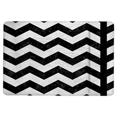 Chevron3 Black Marble & White Leather Ipad Air Flip by trendistuff