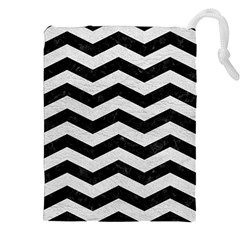 Chevron3 Black Marble & White Leather Drawstring Pouches (xxl) by trendistuff