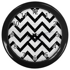 Chevron9 Black Marble & White Leather Wall Clocks (black) by trendistuff