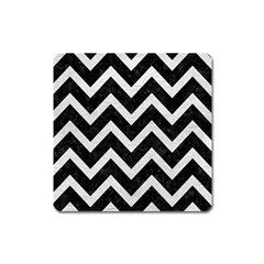 Chevron9 Black Marble & White Leather (r) Square Magnet by trendistuff